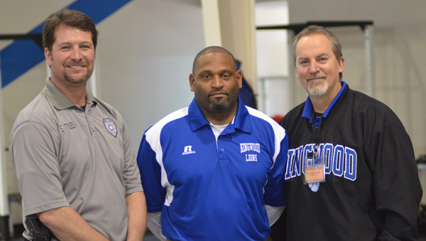 From left to right: Kingwood Christian Athletic Director Eddie Toles, recently introduced head football coach Sheldon Ward and KCS Education Pastor Benny Cunningham. (Reporter Photo / Baker Ellis)