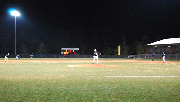 Helena pitcher Riley Davis (1) allowed no earned runs, struck out three and issued no walks on three innings of work. (Reporter Photo/Graham Brooks)