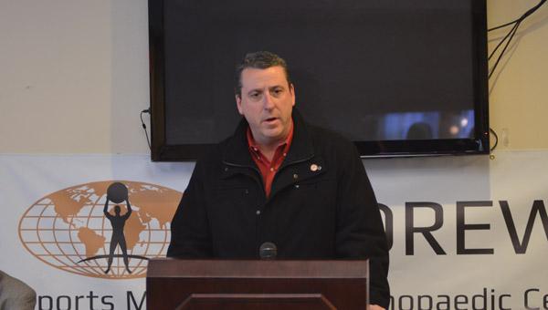 Alabama Frozen Tide head coach Mike Quenneville address media and patrons on Feb. 16. (Reporter Photo / Baker Ellis)