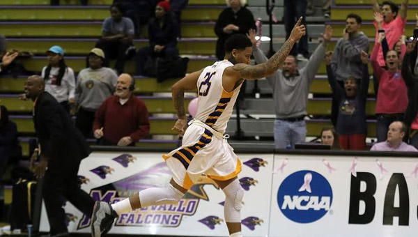 Troran Brown of Montevallo led the Falcons to a one-point, 74-73 win over Columbus State on Feb. 18 to give the Falcons their fourth straight PBC West title. (Contributed)