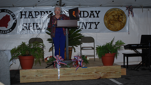 Guest speaker Dr. Harriet E. Amos Doss delivered a speech on the life of Gabriel Moore, a founding father of Alabama at Shelby County's Birthday Celebration on Sunday, Feb. 1. (Reporter Photo/Graham Brooks)