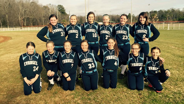 The Evangel Christian Lady Lightning won their first contest of the year on Feb. 24 by a score of 14-8. (Contributed)