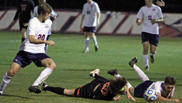 Oak Mountain, shown here last year in action against Hoover, came away with an overtime victory over Hoover on Feb. 26 by a final of 2-1. (File)