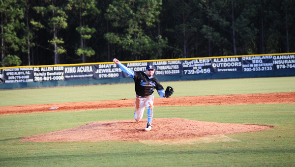 Drew Hawker of Spain Park throws a pitch in a Feb. 24 matchup with Briarwood. Briarwood pulled away from the Jaguars early and won 7-1. (Reporter Photo / Baker Ellis)