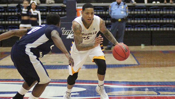 Troran Brown of Montevallo led the Falcons to a 74-66 victory over Young Harris on Feb. 25 to wrap up the regular season. (Contributed)