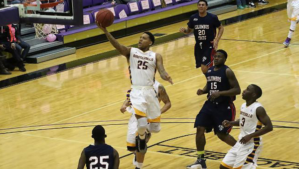 The University of Montevallo men's basketball team earned its first-ever outright Peach Belt Conference title on Feb. 21. (Contributed)