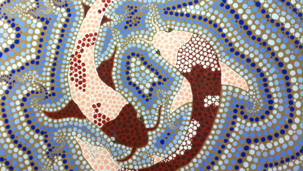 """Chelsea Middle School student Taylor Stafford won """"Best in Show"""" at the State Superintendent's Visual Arts Exhibit for her piece """"Aboriginal Koi."""" (Contributed)"""