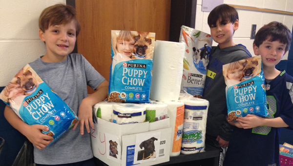 Will Lancaster, left, and his friends stand with some of the items for the Shelby Human Society donated by the OMES community. (Contributed)