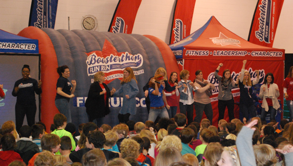 OMES kicked off this year's Boosterthon fundraiser with a pep rally on Feb. 18. (Reporter Photo / Molly Davidson)