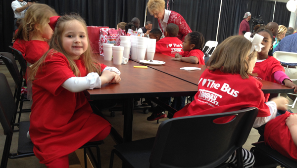 "Students from Alabaster City Schools attend the Feb. 11 ""Love the Bus"" celebration. (Ginny Cooper McCarley / Special to the Reporter)"
