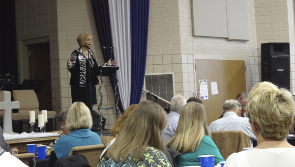 Lisa Phillips, owner of SimpleWorks, speaks at the South Shelby Chamber of Commerce membership luncheon on Feb. 5 at Columbiana United Methodist Church. (Reporter Photo/Emily Sparacino)