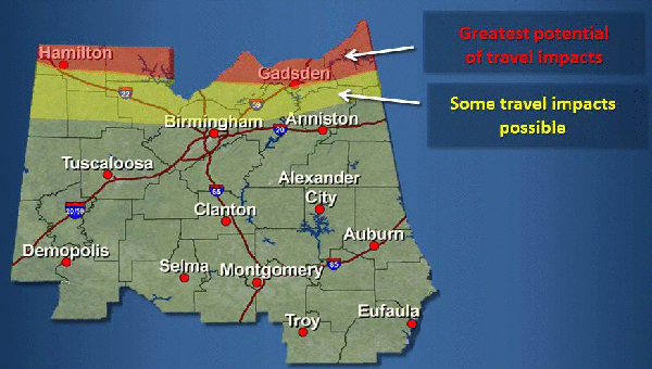 The majority of the winter weather threat will pass north of Shelby County over the next few days. (Contributed)