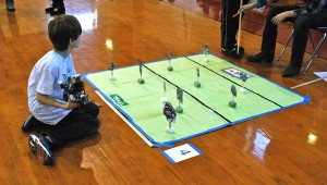 A Greystone Elementary School student surveys a challenge at the Jan. 31 robotics competition at Greystone Elementary School. (Reporter Photo / Molly Davidson)