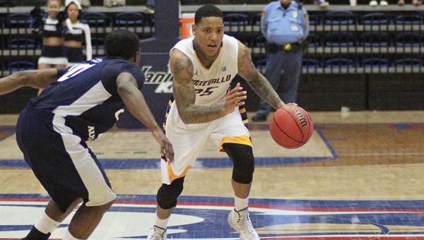 Troran Brown of Montevallo was named the Peach Belt Conference Player of the Week after averaging 25.7 points, 7.7 assists and 5 rebounds per game over the Falcons' last three outings. (Contributed)