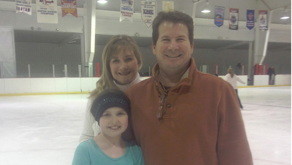 Craig Henderson, left, pictured with a teacher and student, is the director of skating at the Pelham Civic Complex. (Contributed)