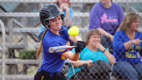 Kathleen Clark of Hope Christian School smacks a double during a March 12 doubleheader with Ezekiel. (Contributed)
