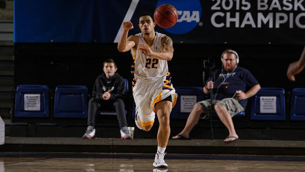 Ryan May passes up court during the Falcons 78-59 NCAA Tournament win on March 15. With the win, Montevallo advanced to the Sweet Sixteen for the eighth time in program history. (Contributed)