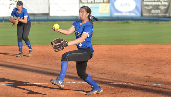 Caiti Davis of Chelsea winds up in the Lady Hornets March 24 game against Spain Park. Chelsea defeated Spain Park in eight innings 4-3. (Reporter Photo / Baker Ellis)