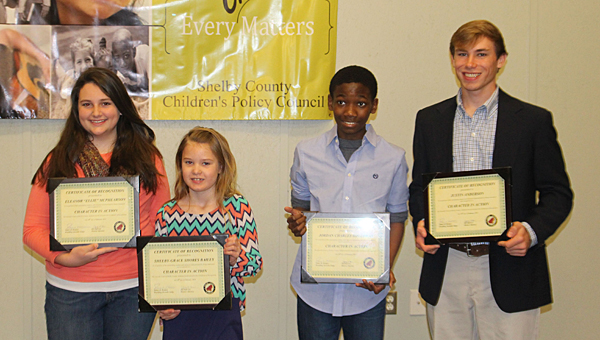Pelham students, from left, Ellie McPhearson, Shelby-Grace Bailey, Jordan Holloway and Justin Anderson recently received Character in Action Awards. (Contributed)