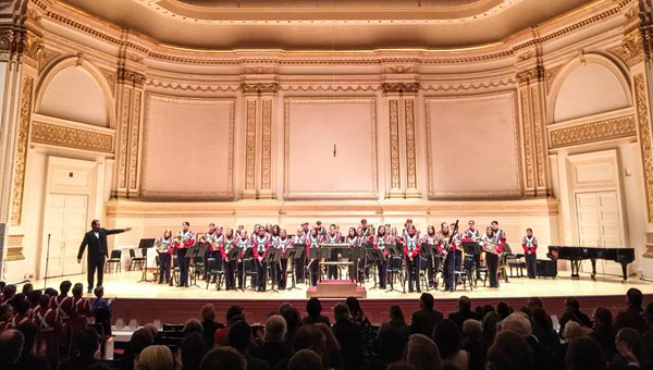 The Oak Mountain High School concert band and wind ensemble performed at New York City's Carnegie Hall on March 1. (Contributed)