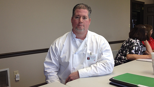Chef Scott Lokey prepares for a meeting with the Alabaster City Schools Child Nutrition Program staff at the ACS central office annex on March 3. (Reporter Photo/Neal Wagner)