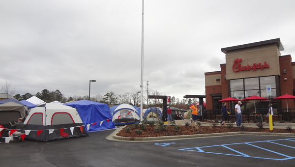 More than 100 people gathered at Chick-fil-A in Greystone on March 11 for the new restaurant's First 100 free meal contest. (Reporter Photo/Emily Sparacino)