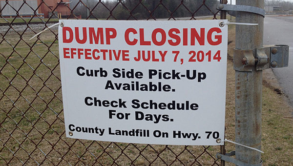 A sign greets residents at what was once the entrance to the Alabaster city dump on Maintenance Drive. (Reporter Photo/Neal Wagner)