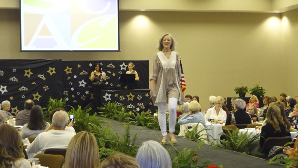 Cindy Nicholson, former Ms. Senior Shelby County, models casual wear at the Shelby County Arts Council's annual fashion show and luncheon on March 7 at First Baptist Church in Columbiana. (Reporter Photo/Emily Sparacino)