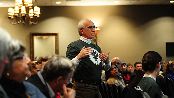 Former Shelby County Circuit Court judge Hub Harrington, a member of the Keep Oak Mountain Wild group, speaks during a March 2 public hearing moderated by Alabama State Parks Director Greg Lein at the Pelham Civic Complex. (Reporter Photo/Neal Wagner)