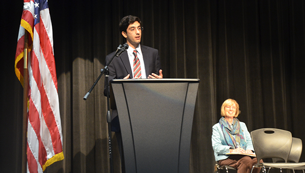 Current UAB student and Rhodes Scholar winner Ameen Barghi addresses award recipients at the Super Scholars of Shelby County presentation on Tuesday, March 10. Barghi is a 2011 OMHS graduate. (Reporter Photo/Graham Brooks)