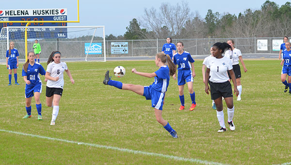 The Helena Lady Huskies soccer team defeated Mortimer Jordan 2-0 in a Metro Tournament game on Wednesday, March 18. (Reporter Photo/Graham Brooks)