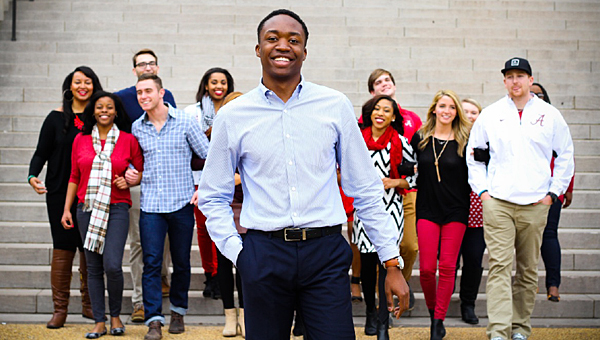 Pelham High School grad Elliot Spillers, center, was elected the University of Alabama's first black SGA president in decades on March 10. (Contributed)
