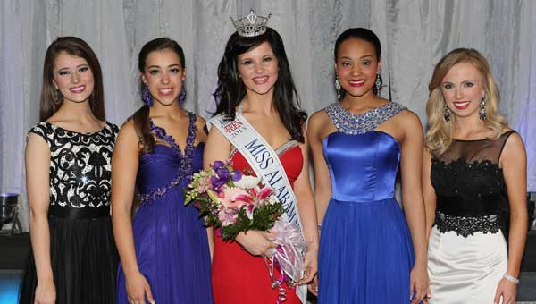 CUTLINE: Pictured are the top five finalists: From left, Riley Kate Lancaster, fourth runner-up; Emily O'Rear, second runner-up; Miss Alabama's Outstanding Teen 2015, Kaitlynn Campbell; Tiara Pennington, first runner-up; and Mary Grace Long, third runner-up. (Contributed photo.)