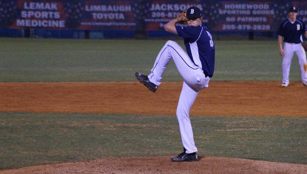 Briarwood starting pitcher Trey Mitchell allowed only one Patriot batter to reach base between the second and fifth inning during the Lions' 6-5 win on April 7. (Contributed / Sam Chandler)