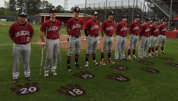 The Shelby County baseball Wildcats honored their 10 senior players on Senior Night, April 9. The Wildcats defeated visiting Sylacauga 2-1 in a marathon game that spanned 14 innings. (Contributed)