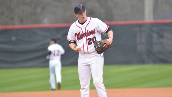 Colin Lillie gathers himself to throw in an early season matchup. Lillie pitched a complete game shutout on April 7 against Tuscaloosa County to givethe Warriors their 22nd win of the season. (File)