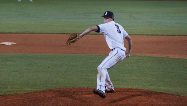 Briarwood's Trey Mitchell registered nine strikeouts in game two of Saturday's doubleheader, spurring the Lions to a 7-3 victory over Chelsea. (Contributed / Sam Chandler)