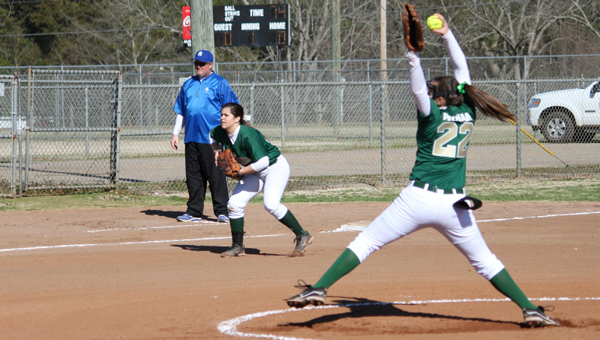 Cadence Crocker (22) and the Pelham Lady Panthers advanced to 13-3 on April 9 and wrapped up the 6A Area 8 championship. (Contributed)