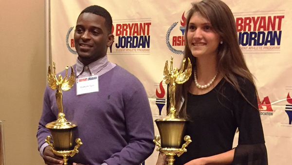 ShaKeith Tyes, left, received the Ken and Betty Joy Blankenship Student Achievement Athlete of the Year Award on April 13 as part of the Bryant-Jordan Student-Athlete Program. (Contributed)
