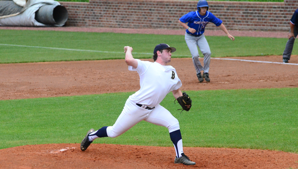 Carson Cupo of Briarwood throws a pitch in the first game of the second round, 6A playoff series between Briarwood and Homewood. The series is currently tied, with the decisive game three being played on Monday, April 27, at 6:30 p.m. (Reporter Photo / Baker Ellis)