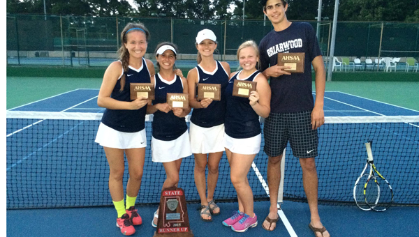From left to right individual 6A state champions Kateleigh Calloway, fourth court singles and third court doubles, Callie Ware, sixth court singles, Judd Tarance, second court singles, Katelyn Bussey, third court doubles and Thomas Collier, second court singles. (Contributed)