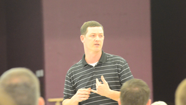 New Thompson Middle School head football coach Phillip Lawson addressed the Thompson Middle School booster club on April 21. (Reporter Photo / Baker Ellis)