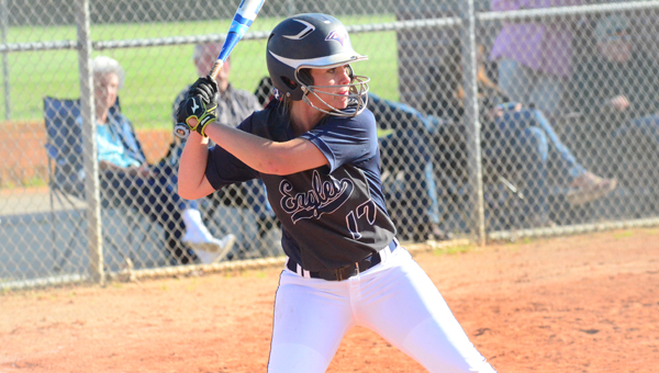 McKenzie Ridgway had one of four hits on the day for the Lady Eagles as they scraped past Chelsea 1-0 on April 21. (Reporter Photo / Baker Ellis)