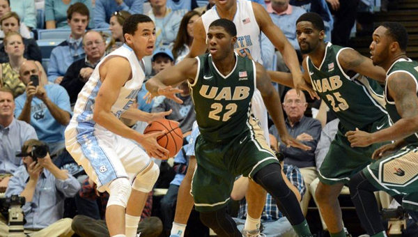 Shelby County's Tyler Madison (22) has become a steady contributor for the UAB basketball team. Madison helped lead the Blazers to the Round of 32 in the NCAA Tournament when they upset Iowa State in Louisville on March 19. (Contributed)