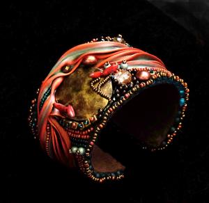 A Shibori cuff bracelet created by Ann Recotta.