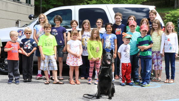 Alabaster Police Department K-9 Micco visited the North Shelby Library's Home School Hangout on April 15. (Special to the Reporter / Dawn Harrison)