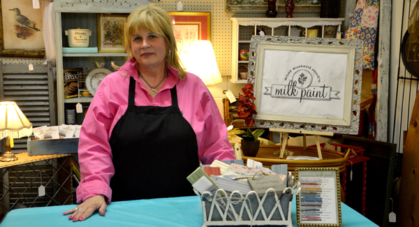Marti Sather offers milk paint classes and products at Primrose Cottage Antiques in Vintage Interiors in Pelham. (Photo by Emily Connell.)