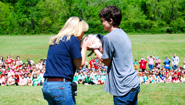 OMES Principal Debbie Horton kisses a pig during the school's field day on April 24. (Reporter Photo / Molly Davidson)