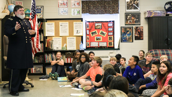 Jerry Allen, as Maj. Gen. George H. Thomas, spoke with OMIS fifth graders on April 22. (For the Reporter / Dawn Harrison)