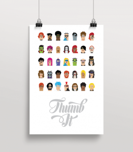 "A poster illustrates the ""thumbatars"" users can choose for the game."